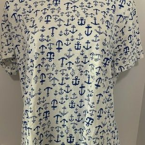 Old Navy Woman Tshirt XL White Anchor Top Preowned